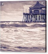Huntington Beach Retro Acrylic Print