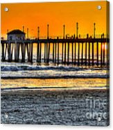 Huntington Beach Sunset Acrylic Print by Jim Carrell