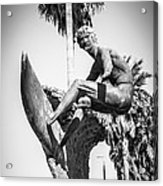 Huntington Beach Surfer Statue Black And White Picture Acrylic Print by Paul Velgos