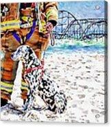 Hurricane Sandy Fireman And Dog  Acrylic Print