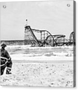 Hurricane Sandy Fireman Black And White Acrylic Print by Jessica Cirz