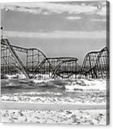 Hurricane Sandy Jetstar Roller Coaster Black And White Acrylic Print