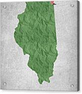I Love Chicago Illinois - Green Acrylic Print