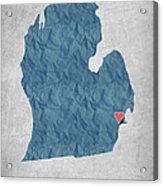I Love Detroit Michigan - Blue Acrylic Print