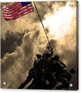 I Pledge Allegiance To The Flag - Iwo Jima 20130211v2 Acrylic Print by Wingsdomain Art and Photography