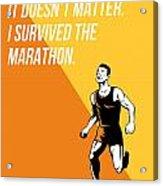 I Survived Marathon Runner Retro Poster Acrylic Print