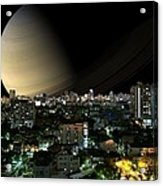 Iapetus City Saturn Acrylic Print