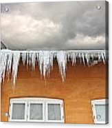 Ice  - Frozen Ice From A Roof Acrylic Print