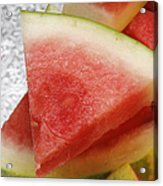 Ice Cold Watermelon Slices 1 Acrylic Print by Andee Design