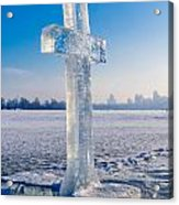 Ice Cross On The Frozen Dniepr Acrylic Print