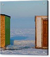 Ice Fishing Huts Canada Macro Acrylic Print