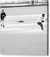 Ice Hockey - Black And White - Nostalgic Acrylic Print by Steve Ohlsen