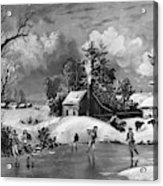 Ice Skating, 1880 Acrylic Print
