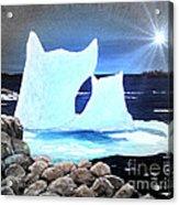Icebergs At Sunset Acrylic Print