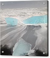 Icebergs Washed Up On Volcanic Sandy Acrylic Print