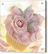 Iced Cup Cake With Sugared Pink Roses Acrylic Print