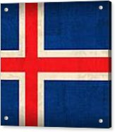 Iceland Flag Vintage Distressed Finish Acrylic Print by Design Turnpike
