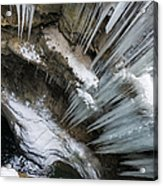 Icicles Hanging In Rocky Gorge In Cold Winter Acrylic Print