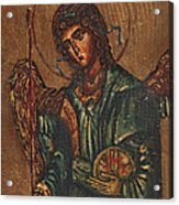 Icon Of Archangel Michael - Painting On The Wood Acrylic Print