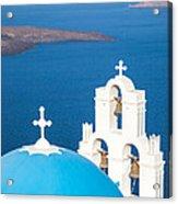 Iconic Blue Cupola Overlooking The Sea Santorini Greece Acrylic Print by Matteo Colombo