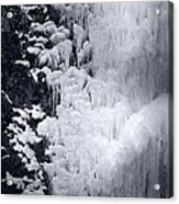 Icy Cliff - Black And White Acrylic Print