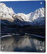 Icy Lake And Annapurna Acrylic Print