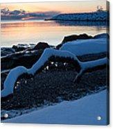 Icy Snowy Winter Sunrise On The Lake Acrylic Print