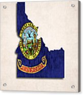 Idaho Map Art With Flag Design Acrylic Print