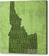 Idaho State Word Art Map On Canvas Acrylic Print