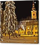 Idylic Winter Cityscape Evening In Snow Acrylic Print