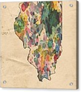 Illinois Map Vintage Watercolor Acrylic Print
