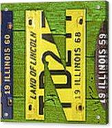 Illinois State Name License Plate Art Acrylic Print