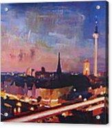 Illuminated Berlin Skyline At Dusk  Acrylic Print