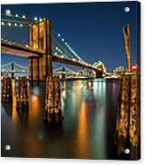 Illuminated Brooklyn Bridge By Night Acrylic Print