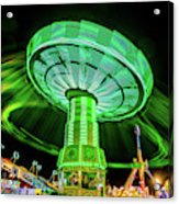 Illuminated Fair Ride With Blurred Neon Acrylic Print