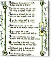 Illuminated Poem 1903 Acrylic Print