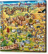Illustrated Map Of Arizona Acrylic Print