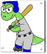 Illustration Of A Brontosaurus Baseball Acrylic Print