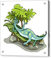 Illustration Of An Iguanodon Sunbathing Acrylic Print by Stocktrek Images