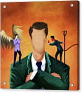 Illustration Of Businessman Getting Advice Acrylic Print