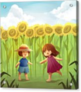 Illustration Of Friends Playing In Sunflower Field Acrylic Print