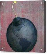 Illustration Of Globe Lit Up As A Bomb Acrylic Print