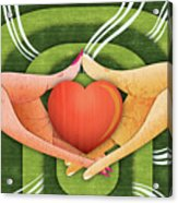 Illustration Of Hands With Heart Acrylic Print