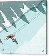 Illustration Of Man Skiing During Acrylic Print