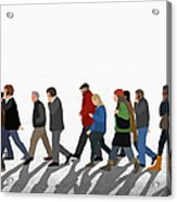 Illustration Of People Walking On Acrylic Print