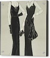 Illustration Of Two Women Wearing Mainbocher Acrylic Print