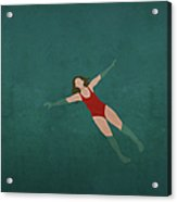 Illustration Of Woman Swimming In Water Acrylic Print