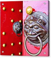 Imperial Lion Door Knocker Acrylic Print by William Voon