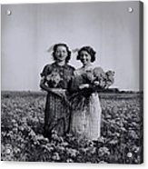 In A Field Of Flowers Vintage Photo Acrylic Print