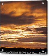 In Case You Missed God's Message To You... Good Morning Children I Love You Have A Blessed Day Acrylic Print